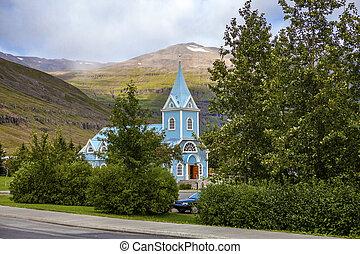 Small church in Seydisfjordur Iceland
