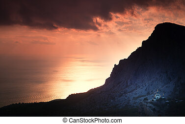 Small church under a mountain at sunset. Foros. Crimea.