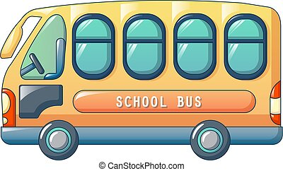 Small city school bus icon, cartoon style