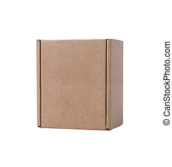 Small closed cardboard isolated on white