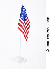 Small cocktail flags of USA. USA flag isolated on white...