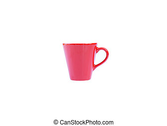 Small coffee red cup on white backgrounds include clipping path