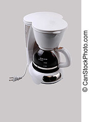 A white small four cup coffeemaker, with coffee in, for light gray background.