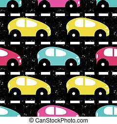 small colored cars on the road beautiful background