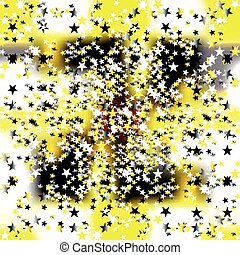 small colored stars on a yellow background