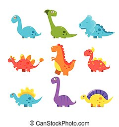 Small Colourful Dinosaur Set. Cute Vector Collection