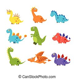 Small Colourful Dinosaur Set. Vector Collection
