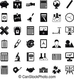 Small computer icons set, simple style