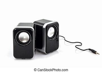 Small computer speakers. - Small computer speakers on white...