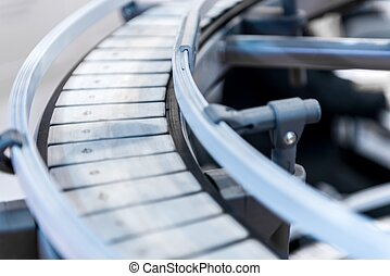 Small conveyor belt closeup photo