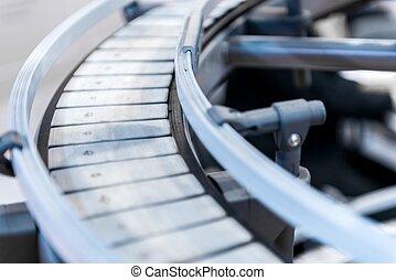 Small conveyor belt closeup photo