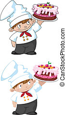 small cook with cake