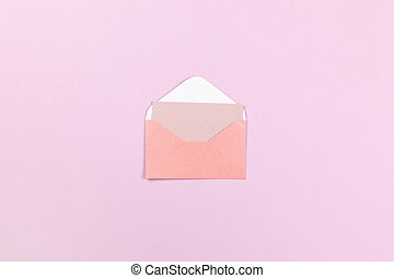 Small coral envelope with empty card inside on lilac background, copy space. Flat lay, top view, minimal style mockup. For gift shop, social media, website design. Horizontal.