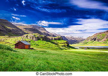 Small cottage in the mountains, Iceland
