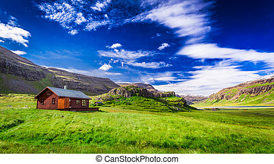 Small cottage in the mountains in Iceland