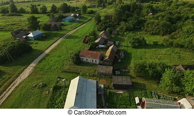 Small cottage settlement aerial video on a summer day