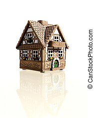 Small cottage with a balcony - Miniature model of a house...