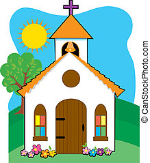 Small country church on a grassy hill