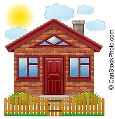 small country house with a wooden fence illustration