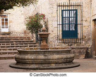Small Courtyard Plaza Fountain Morelia Mexico - Small...