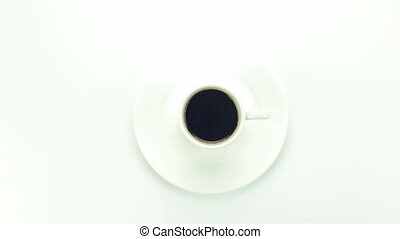 Small cup of instant coffee - video on white background