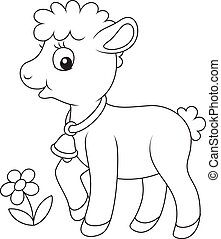 Small curly lamb - Black and white vector illustration of a...