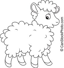 Black and white vector illustration of a cute ewe walking