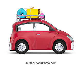 small cute car with suitcases side