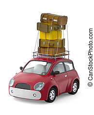 small cute car with suitcases