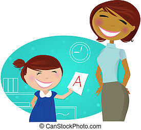 Small girl showing good grade to her mother / teacher / aunt. Stylized vector cartoon illustration.