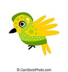 Small cute green and yellow bird colorful cartoon character vector Illustration