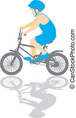 illustration small boy on a bicycle