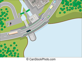 small dam and road, 2D view, cartoon vector illustrations