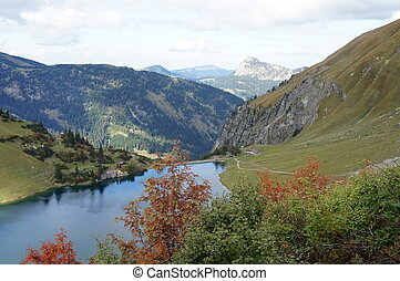 Small dam lake in the Allgaeu Alps - The Tannheim Mountains...