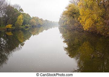 Small Danube river in autumn, Slovakia