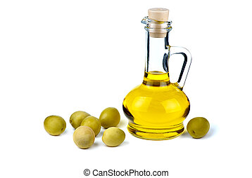 Small decanter with olive oil and some olives near isolated...