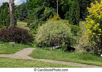 small decorative bridge in the park