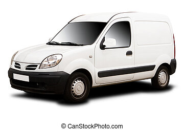 Small Delivery Van - A White Delivery Van Isolated on White
