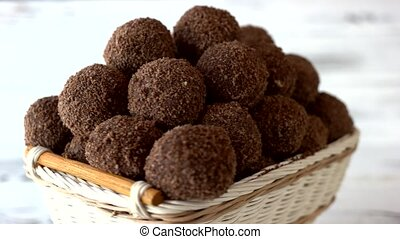 Small desserts with crumbs. Delicious truffles chocolates. ...