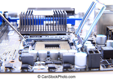 detail of modern computer mainboard (motherboard) - small...