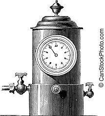 Small dial gauge for gas plant, vintage engraving.