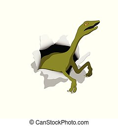 Small dinosaur in isometric style. Reptile emerges from hole. Isolated image of jurassic monster. Cartoon dino 3d icon