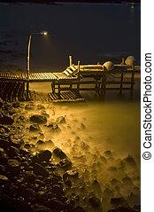Small Dock at Tranquil Moody Night, Galapagos