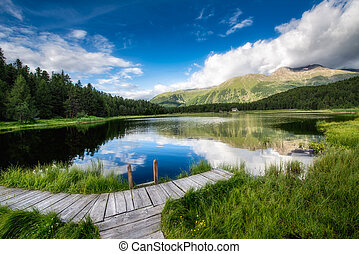 Small dock on mountain lake