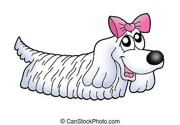 Small dog with ribbon - color illustration.