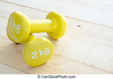 Small dumbbells on the floor