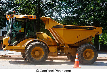 Small Dump Truck with Large Wheels