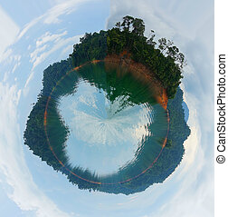 Small earth - Panorama of rain forest at Kenyir lake,...