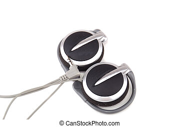 Small easy ear-phones of silvery colour with a cable and the plug.