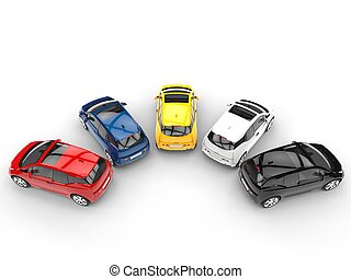 Small economic cars in a semi circle - top view